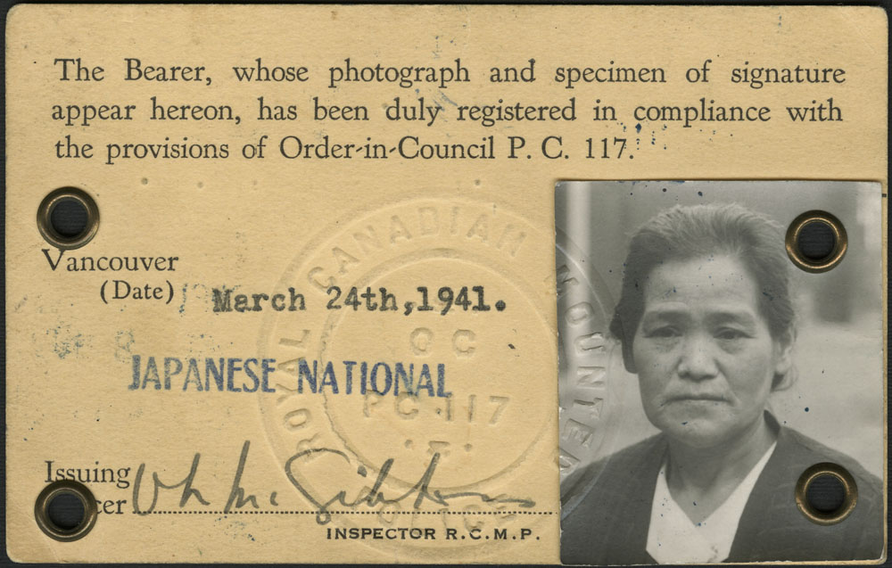 Internment identification card of Taka Sakamoto