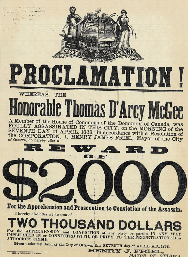 Wanted poster for the assassin of Thomas D'Arcy McGee, 7 April 1868.