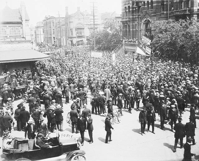 Street scene during the Winnipeg General Strike, 1919.