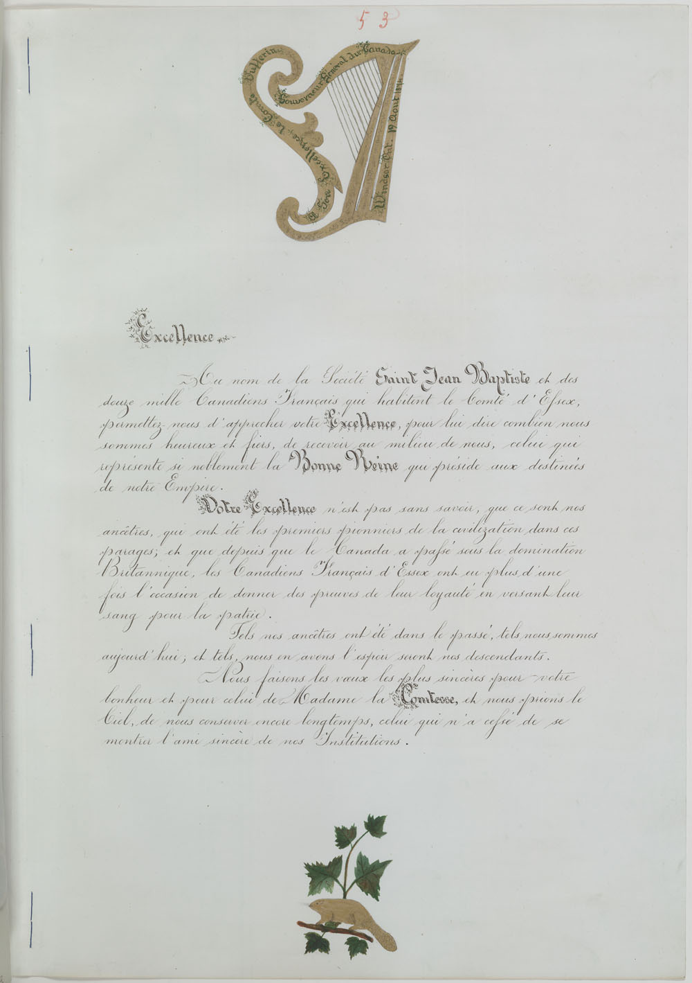 Lettre de La Société St. Jean Baptiste of Essex County, Windsor, à Lord Dufferin