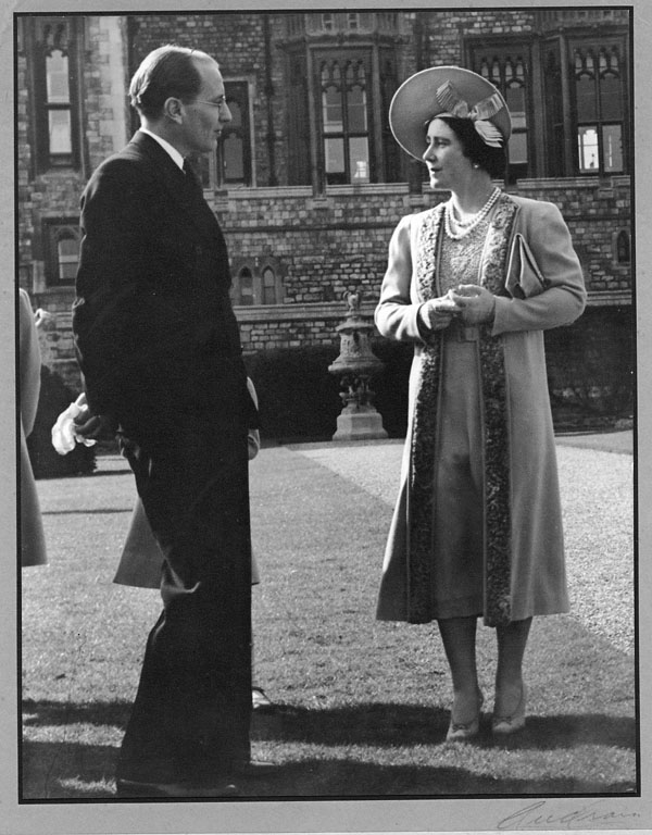 Canadian journalist, Matthew Halton with Queen Elizabeth in 1937.