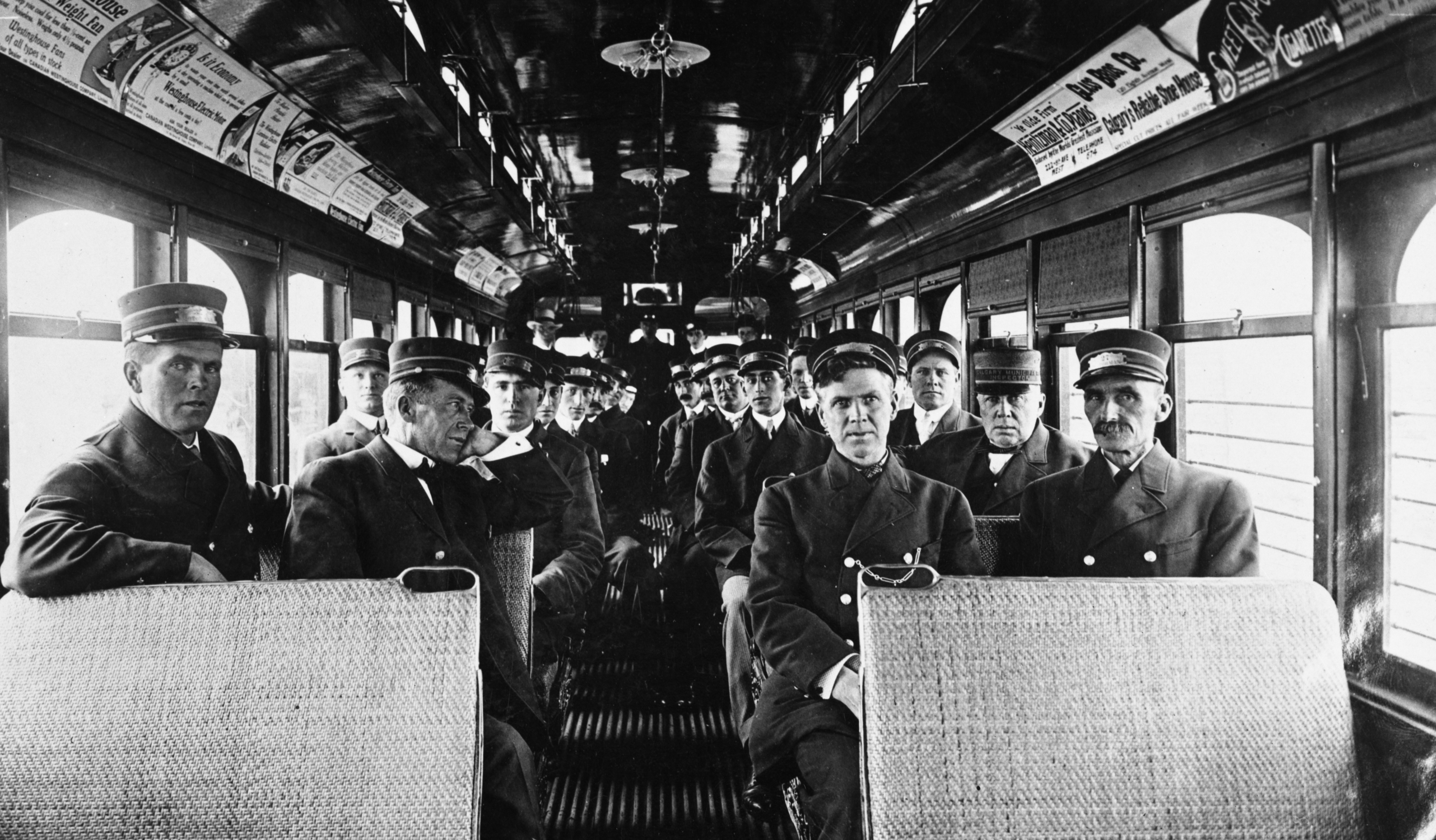 Calgary Electric Railway employees in streetcar, Calgary, Alberta, circa 1911-1915