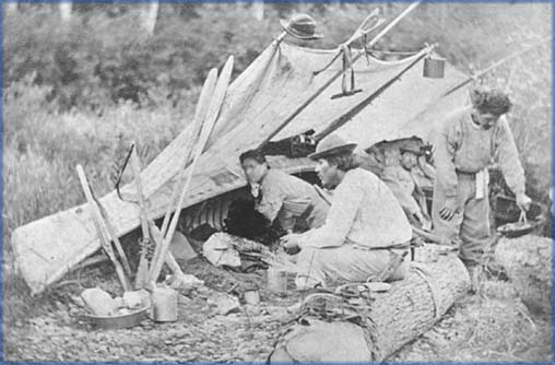 A Wolastoqiyik (Maliseet) camp in Tobique, 1865