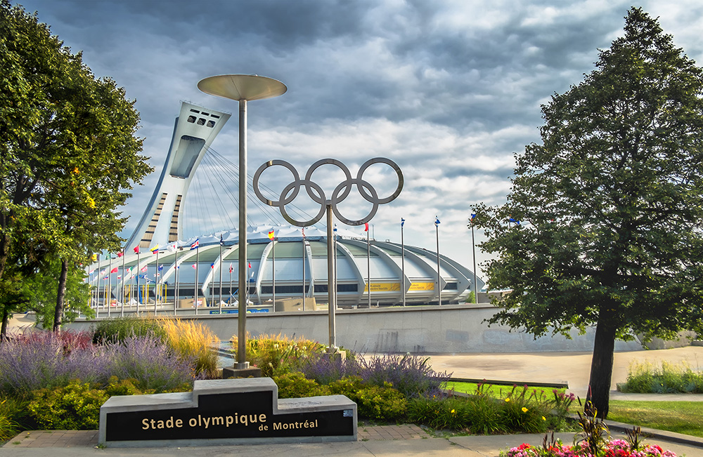 Montreal Olympic Stadium and rings