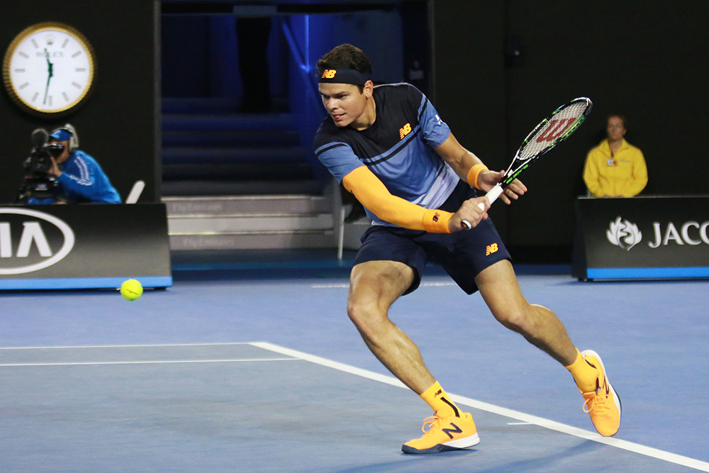 Milos Raonic in action during his Australian Open 2016 semifinal match