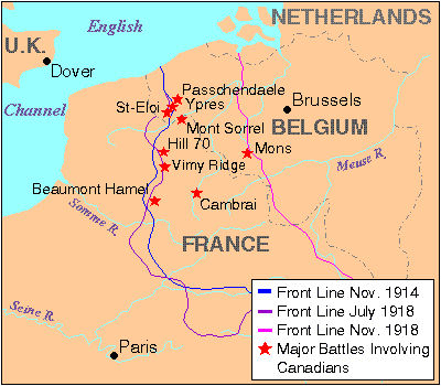 Map Of France Vimy.Battle Of Vimy Ridge The Canadian Encyclopedia
