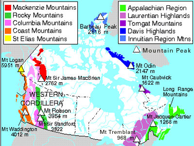 Mountain Range The Canadian Encyclopedia - Mountains in canada map