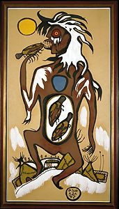 Norval Morrisseau, Windigo, tempera on brown paper, ca. 1963.