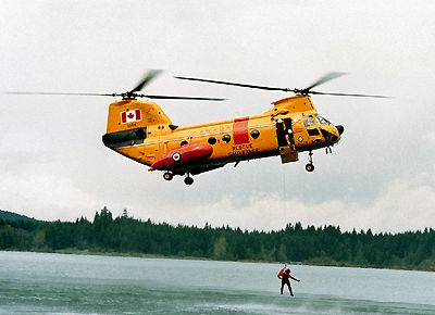 Helicopter in rescue exercises