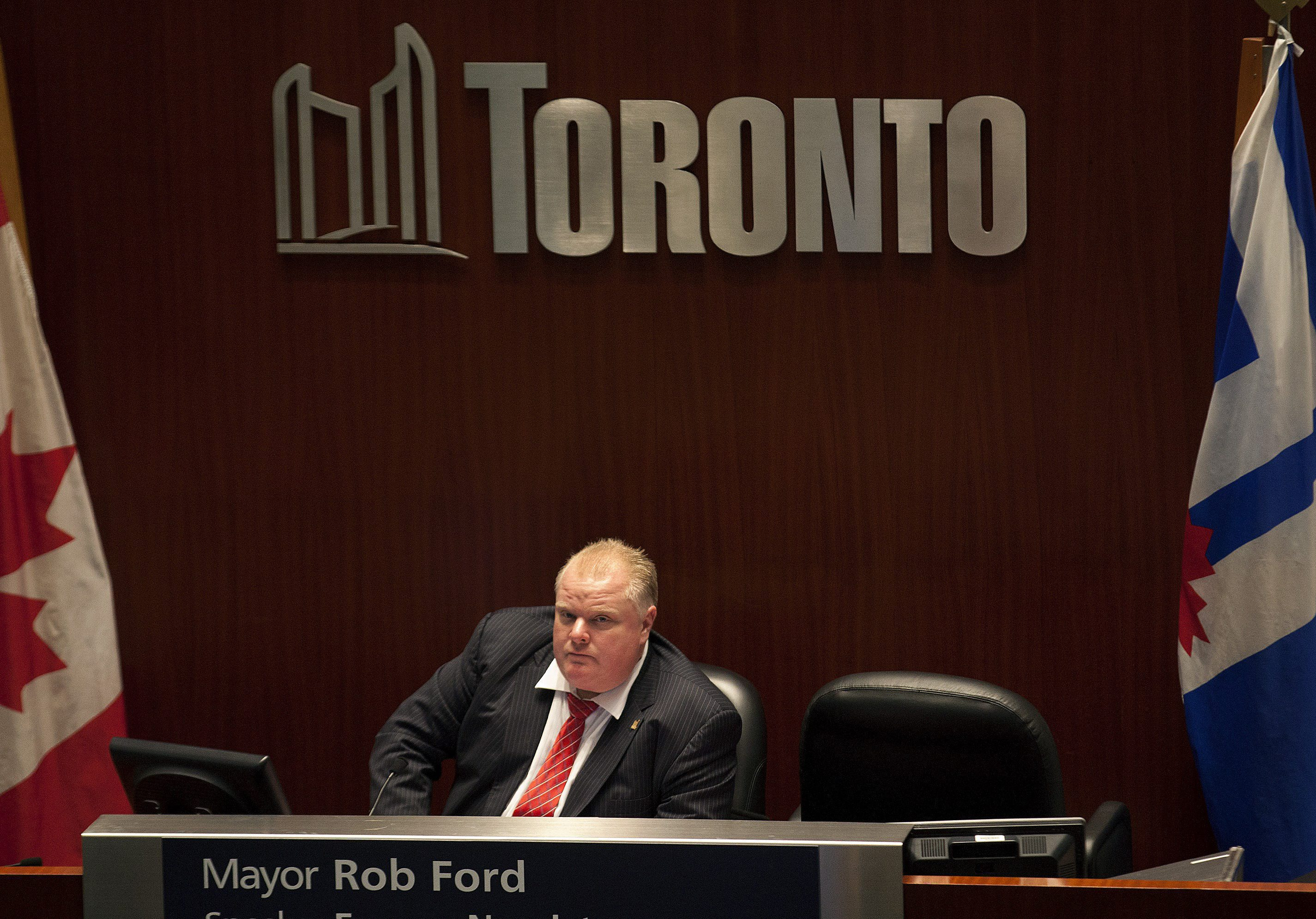 Mayor Rob Ford in the Speaker's seat at Toronto City Hall on November 18, 2013.