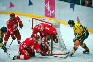 1994 Canadian Olympic hockey team in action against Sweden (photo by Claus  Andersen Canadian Sport Images) 4b3f67d47