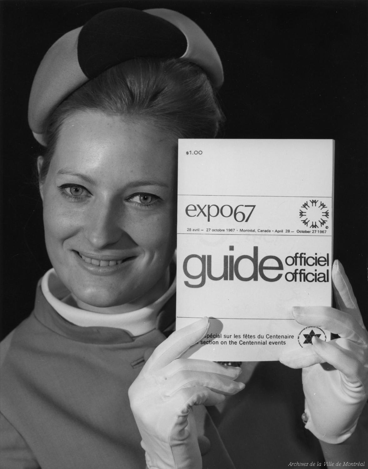 An Expo '67 hostess with publicity document