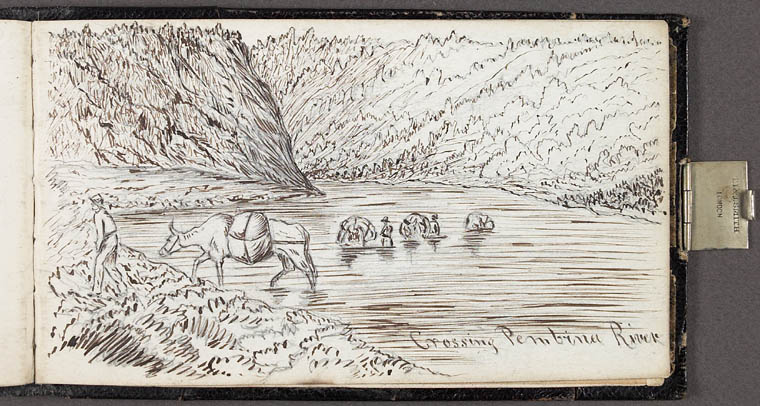 Sketch: Crossing the Pembina River, 1862