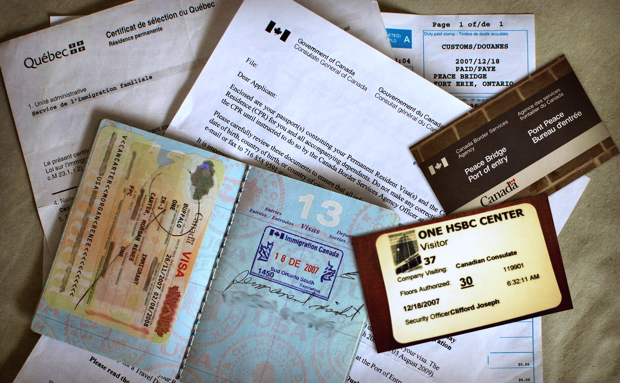 Photo of permanent residence papers