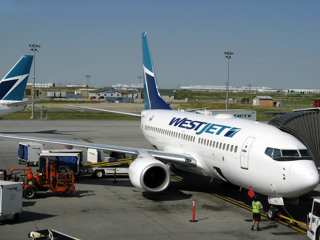 WestJet plane at the Calgary airport