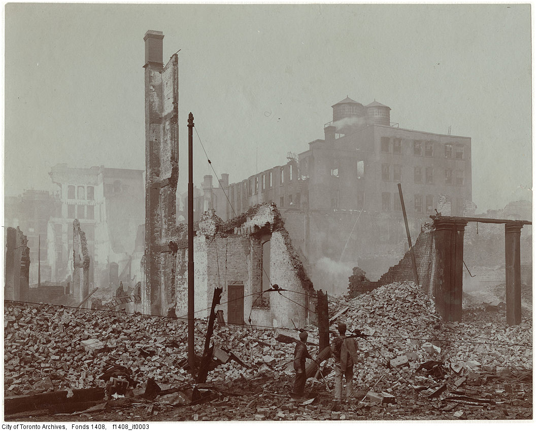 Photo of the aftermath of the 1904 fire: Front Street at Bay looking east