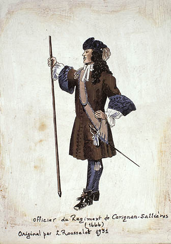 Illustration of an officer of the Carignan-Salières Regiment, 1666