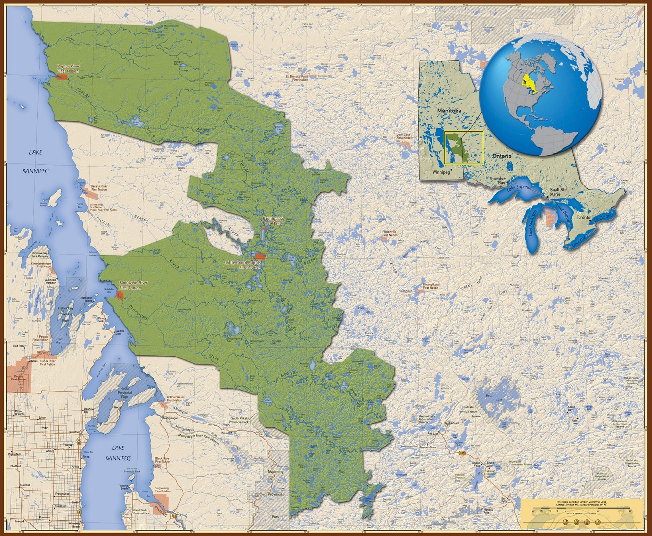 Map of Pimachiowin Aki World Heritage Site