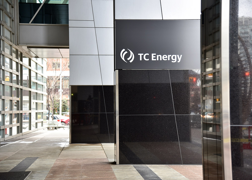 TC Energy logo on company headquarters