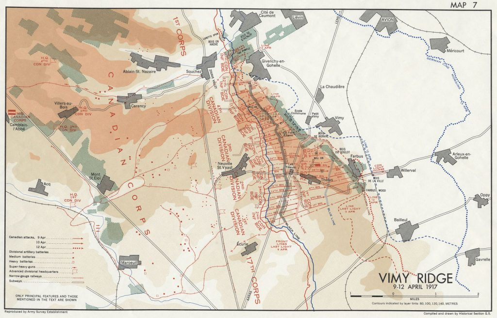 Battle of Vimy Ridge Map
