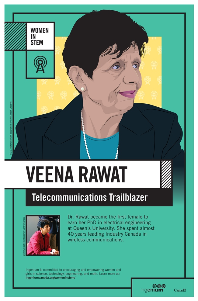 Poster about the work of Veena Rawat