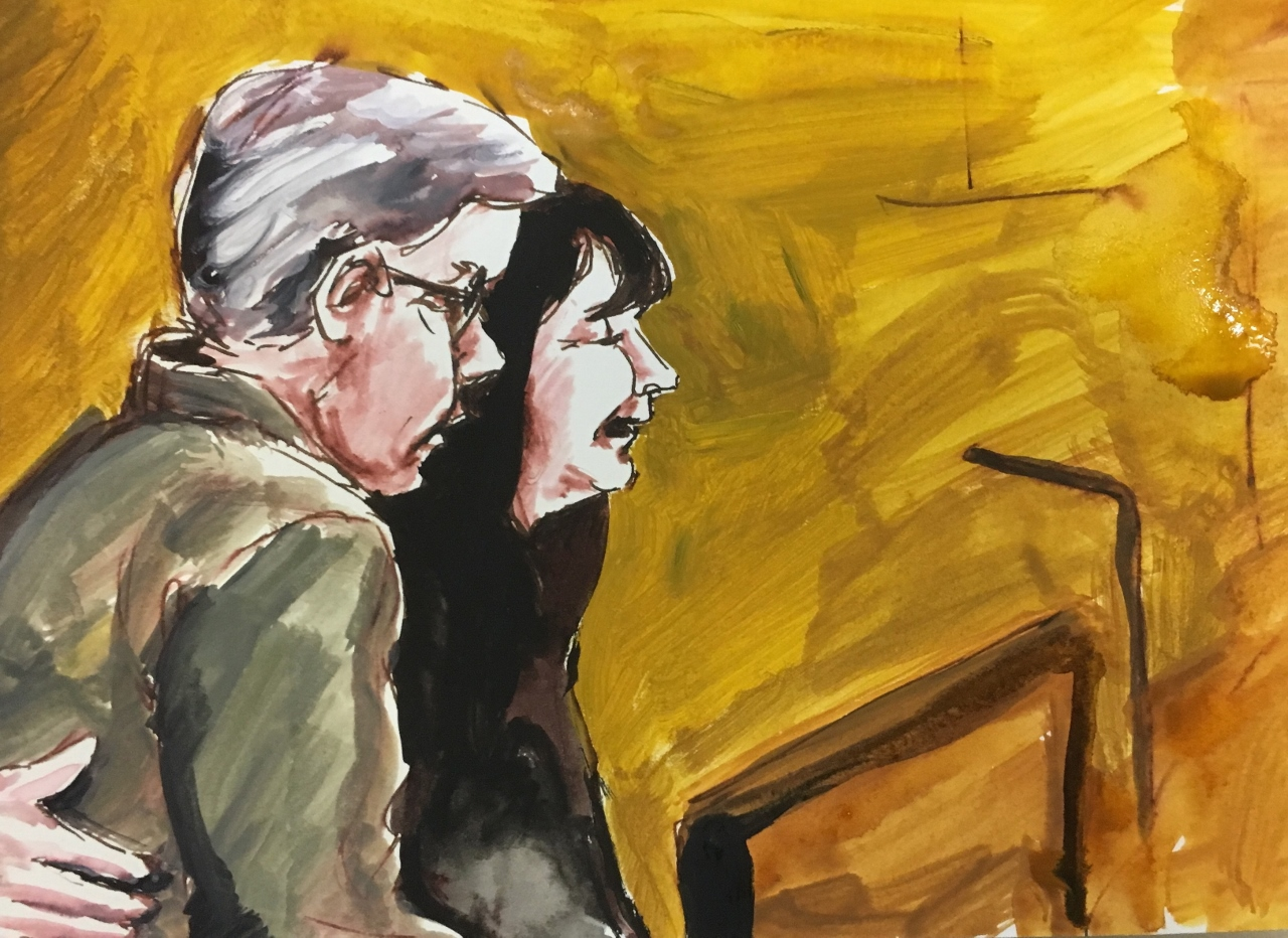 Courtroom sketch of Tanya and Paul Labelle giving victim impact statements