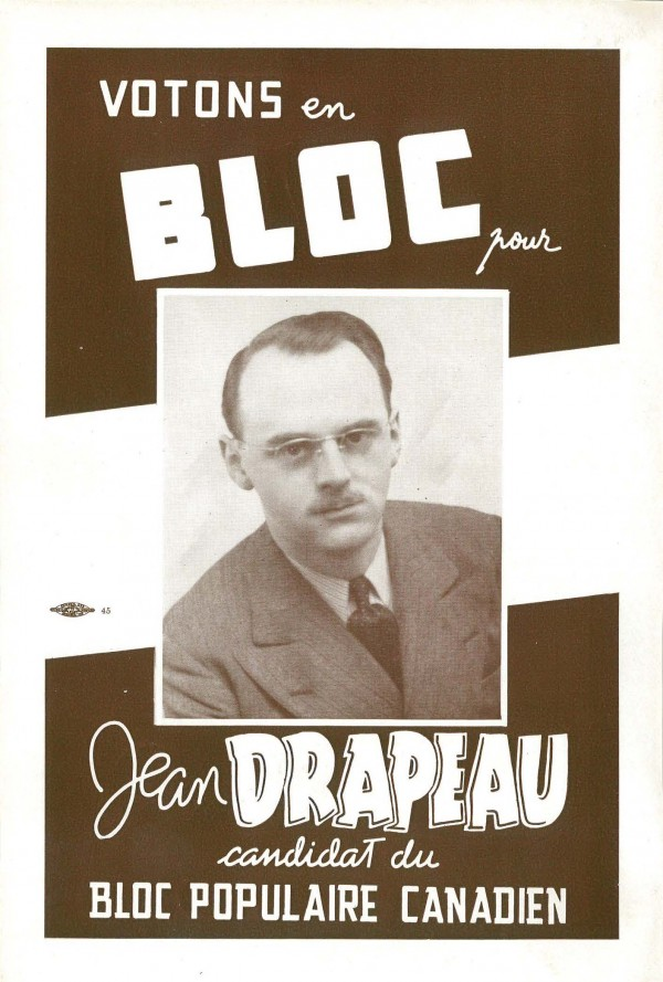 Poster of Jean Drapeau as candidate for the Bloc populaire canadien, 1944