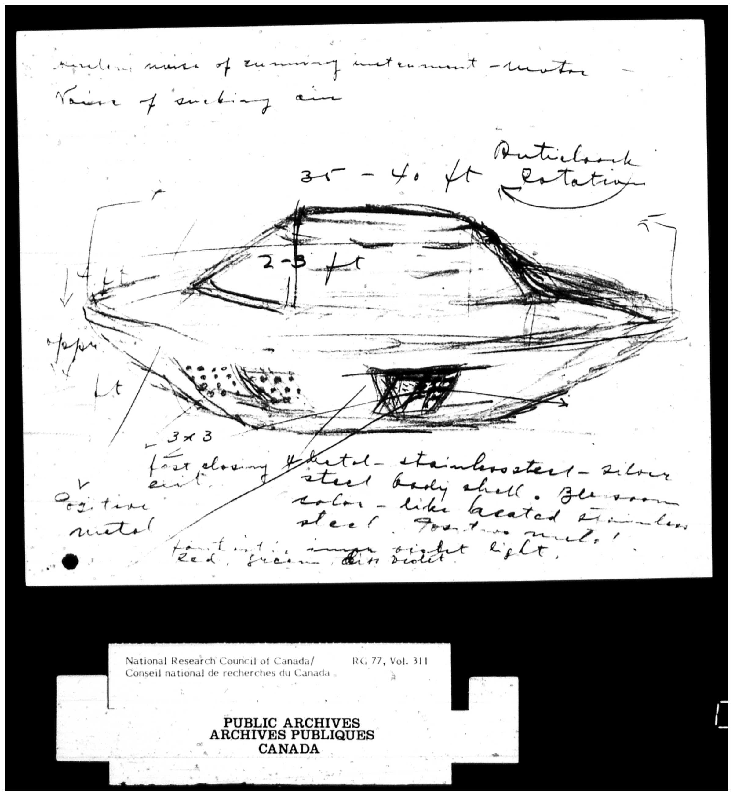 Sketch of the flying saucer based on Stefan Michalak's 1967 account of a UFO encounter in Falcon Lake, MB