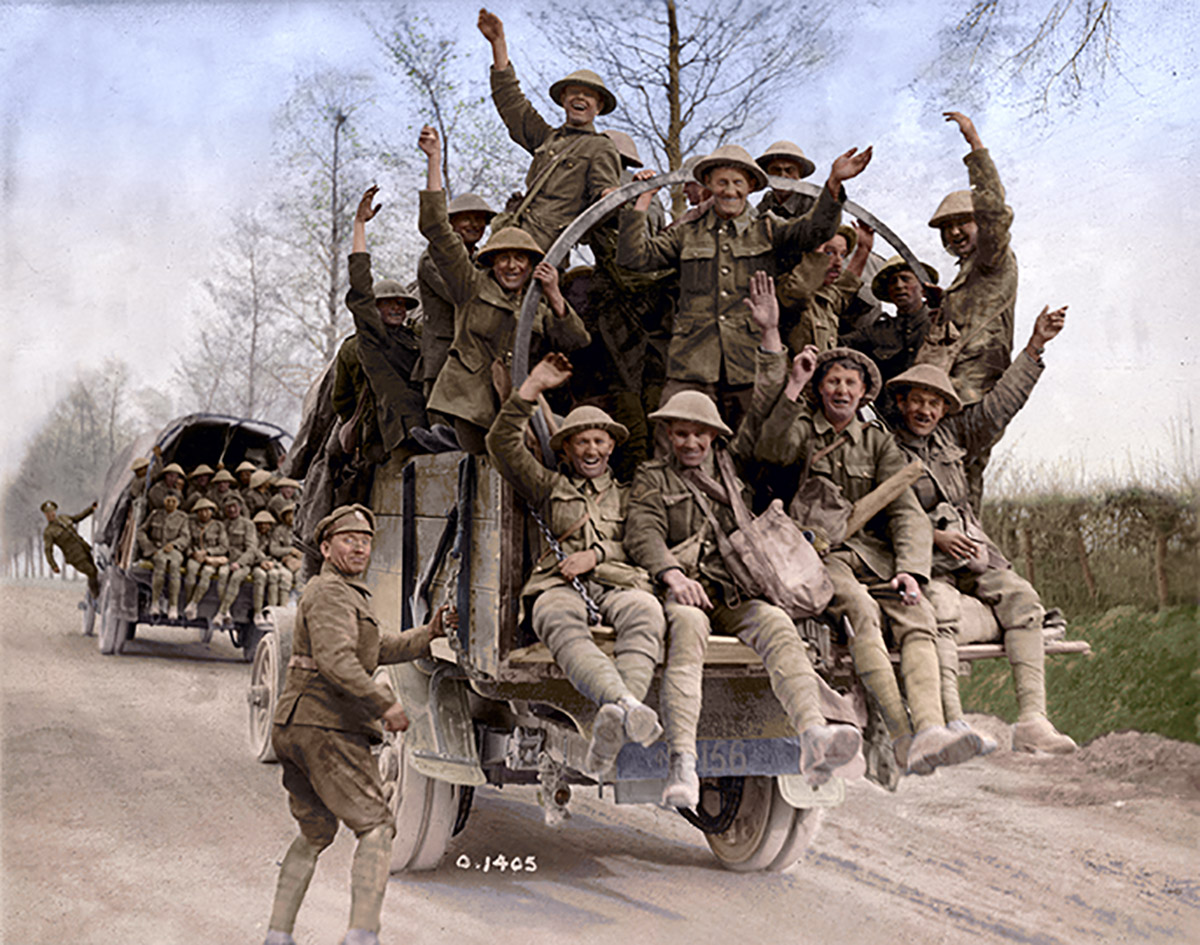 Canadian soldiers returning from Vimy Ridge.