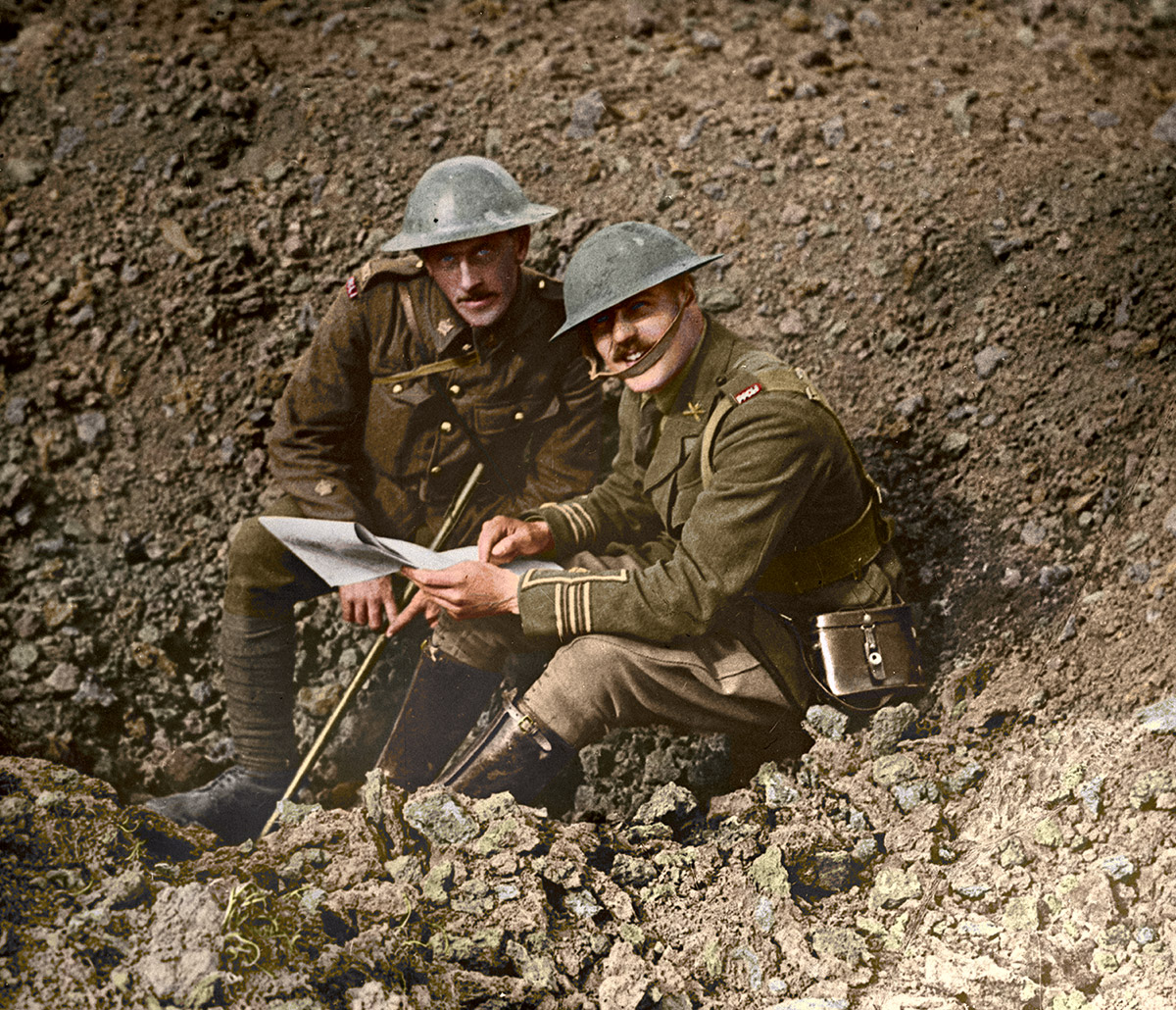 Two officers on the battlefields, Oct. 1916.