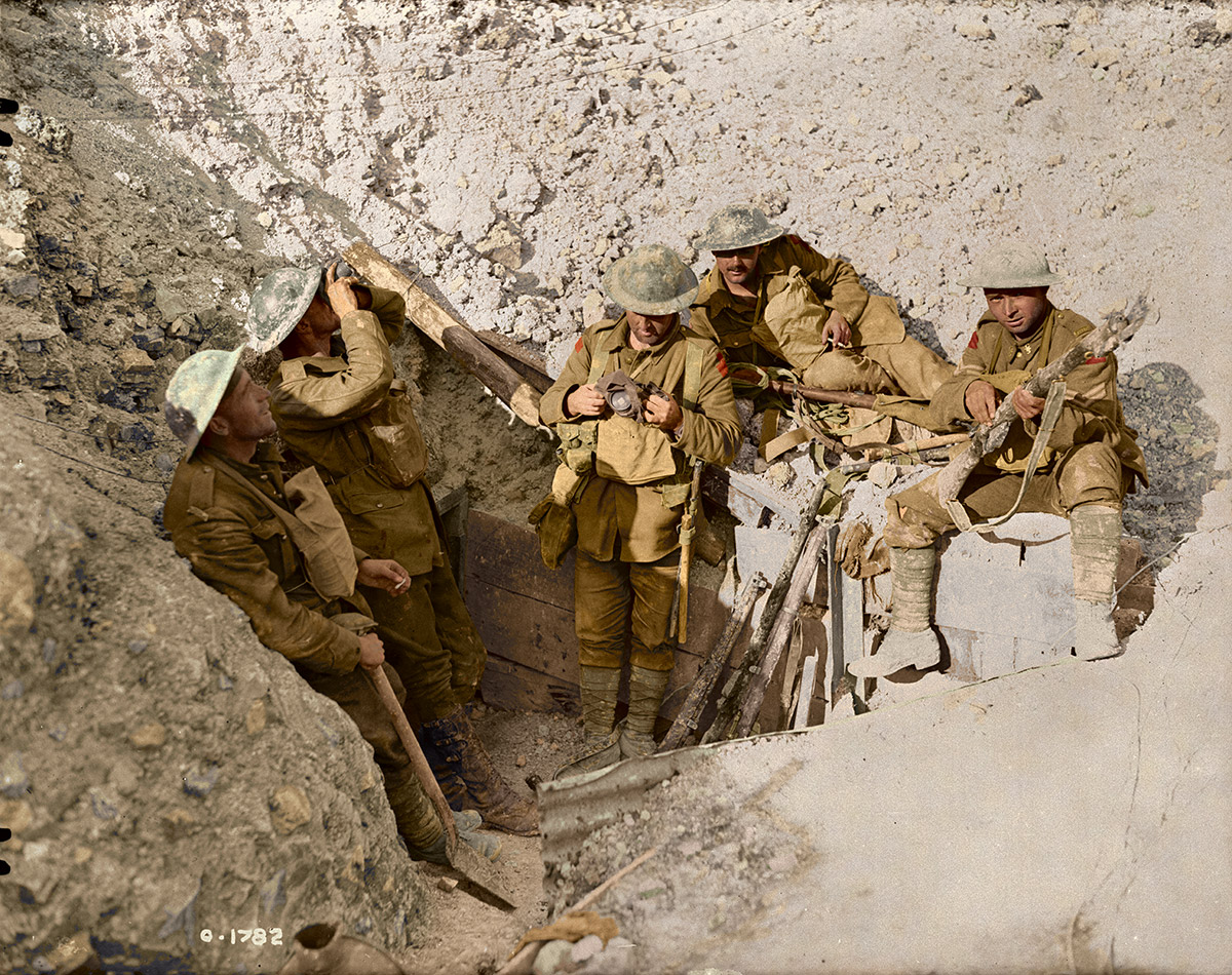 Canadians in captured trenches on Hill 70. August, 1917.