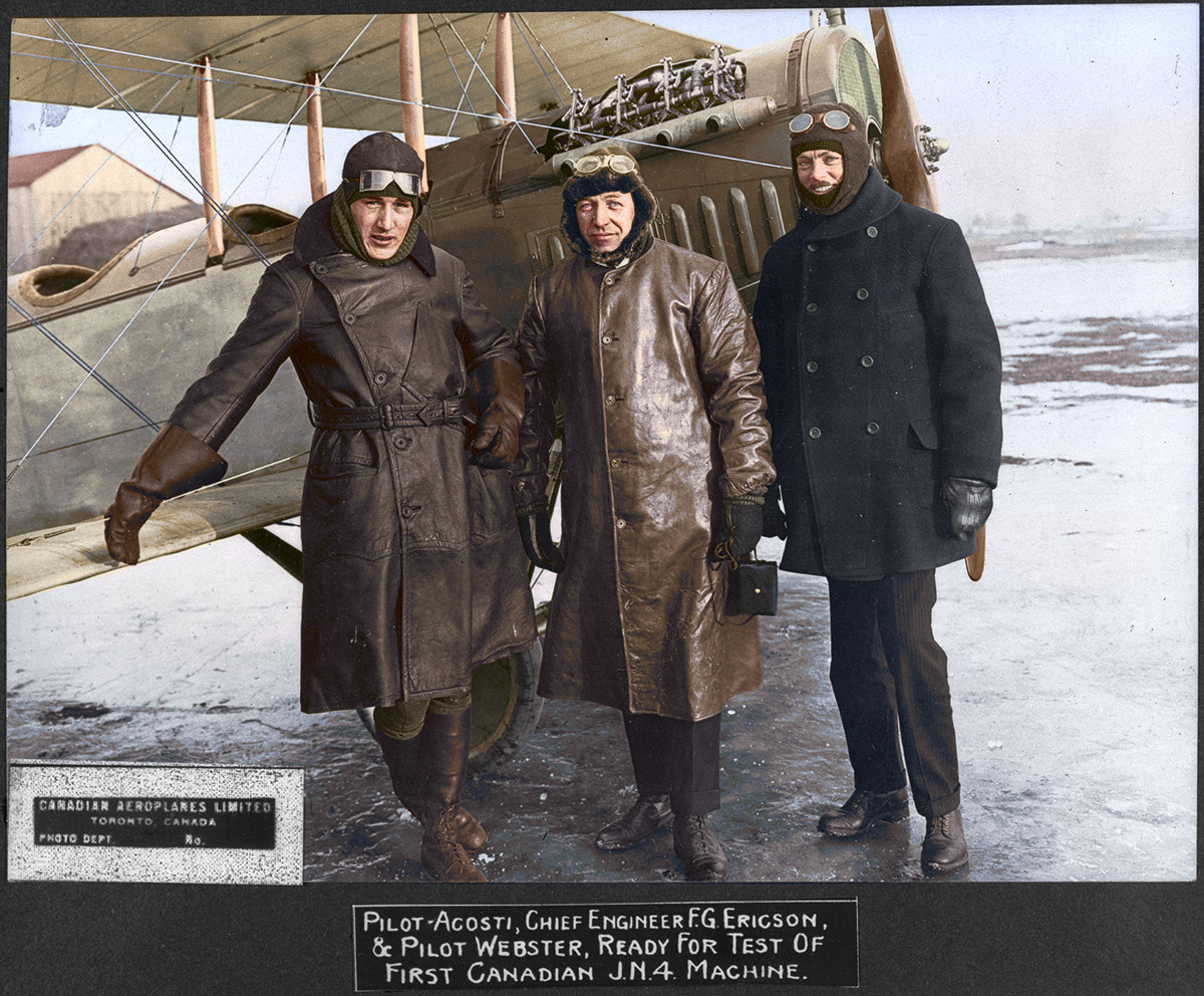 Pilot Ascoti, Chief Engineer F.G. Ericson and Pilot Webster, ready for Test of first Canadian J.N. 4 Machine.