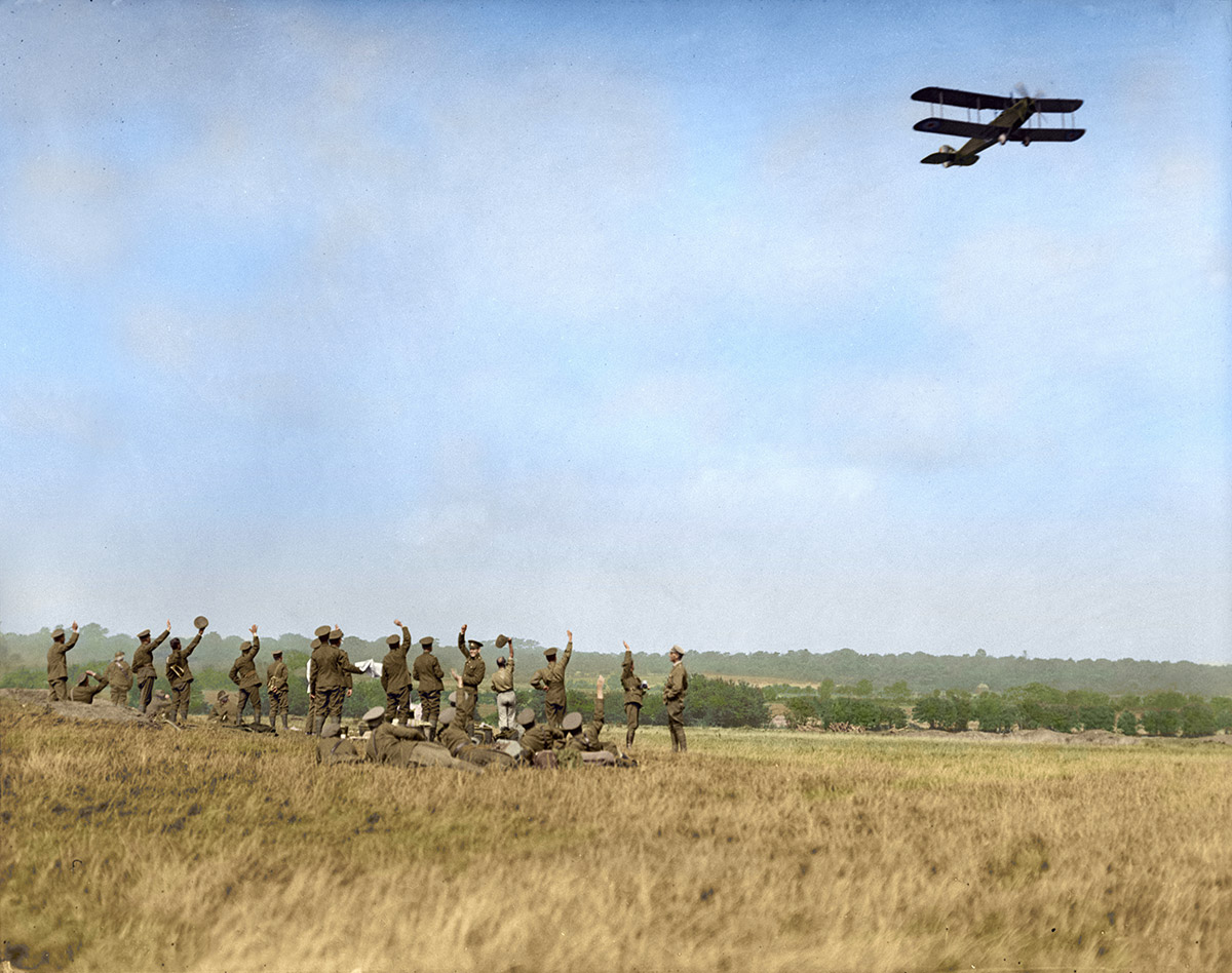 (Cdn Military Demonstration, Shorncliffe Sept. 1917.) An aerial greeting during lunch.