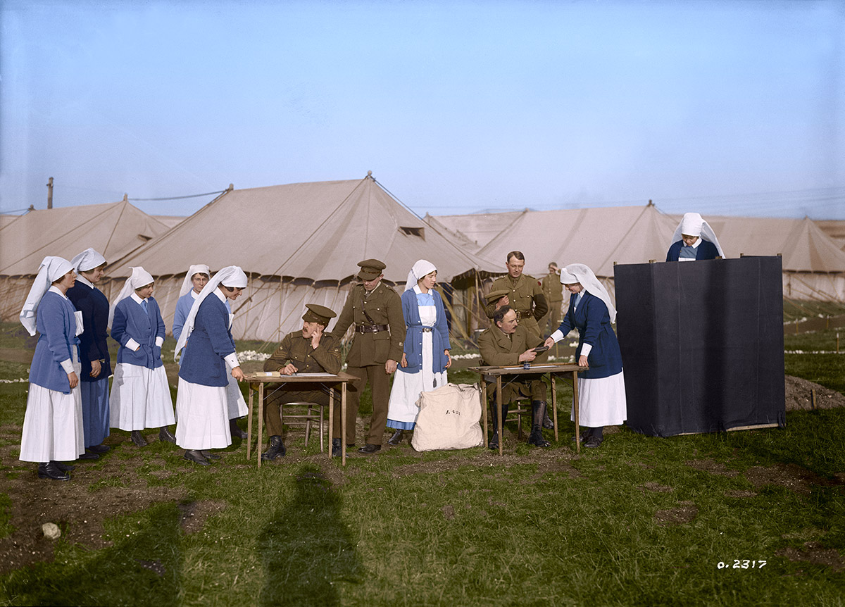 Nursing Sisters at a Canadian Hospital voting in the Canadian federal election.