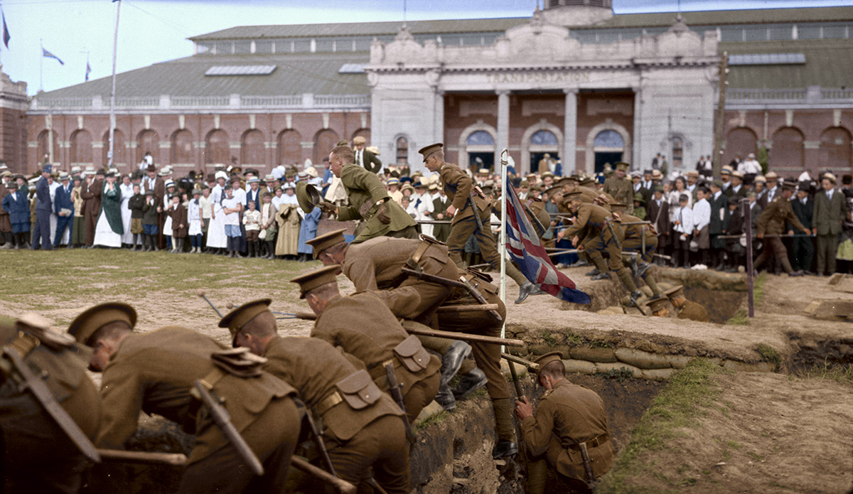 Soldiers getting out of their trenches in Exhibition grounds, Toronto ON. 11 Sept. 1915.
