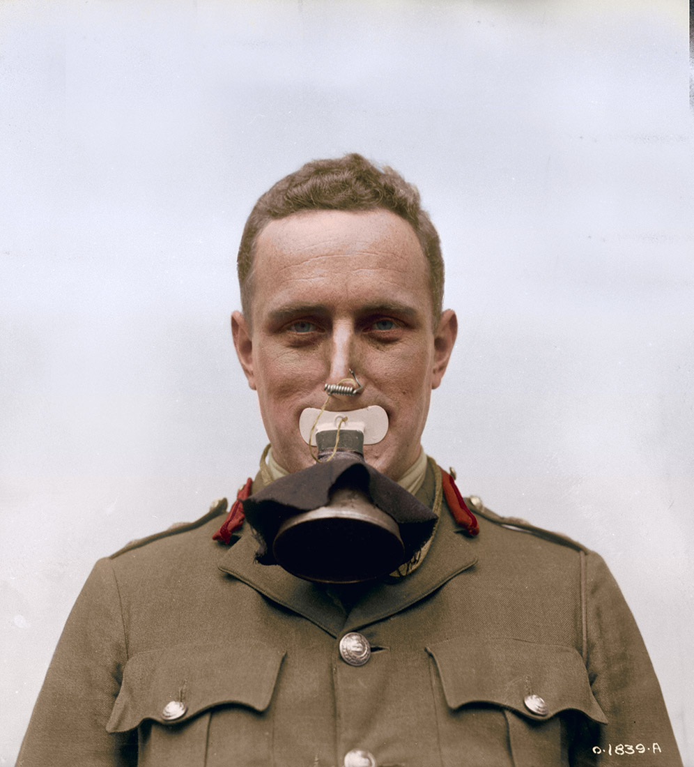 New German gas mask taken by Canadians in Lens. There is no protection to eyes, just a mouthpiece. September, 1917.